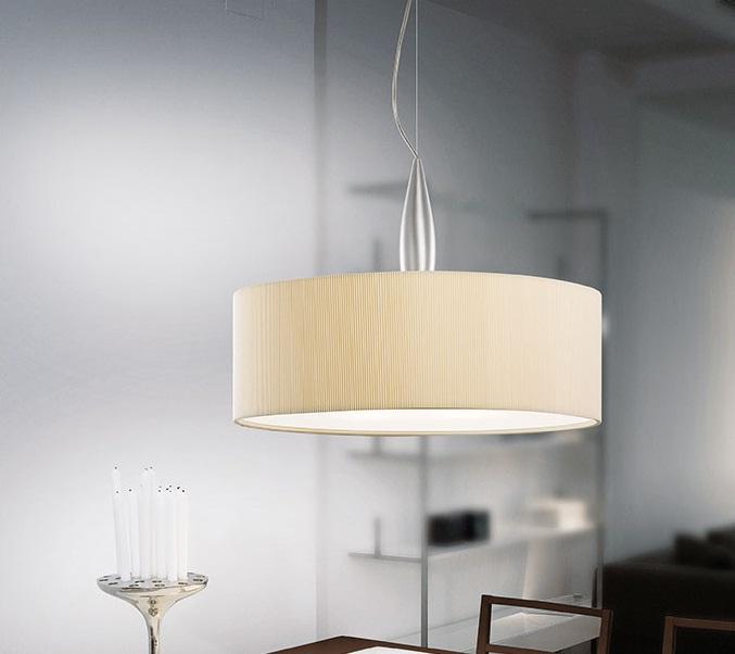 Medusa 1C50 Lámpara Colgante Aluminio Satinado 55cm øpantalla Plisada Crema