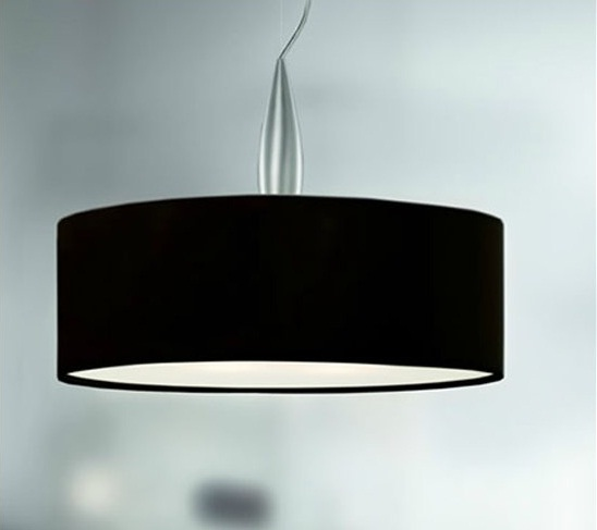 Medusa 1C50 Lámpara Colgante Aluminio Satinado 55cm øpantalla tela Negra