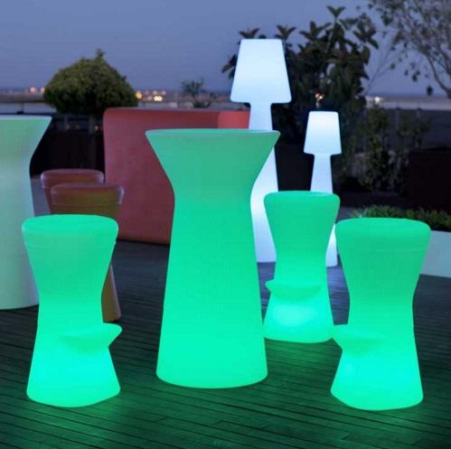 Corfu 40 stool iluminado batería recargable LED RGB 40x39cm