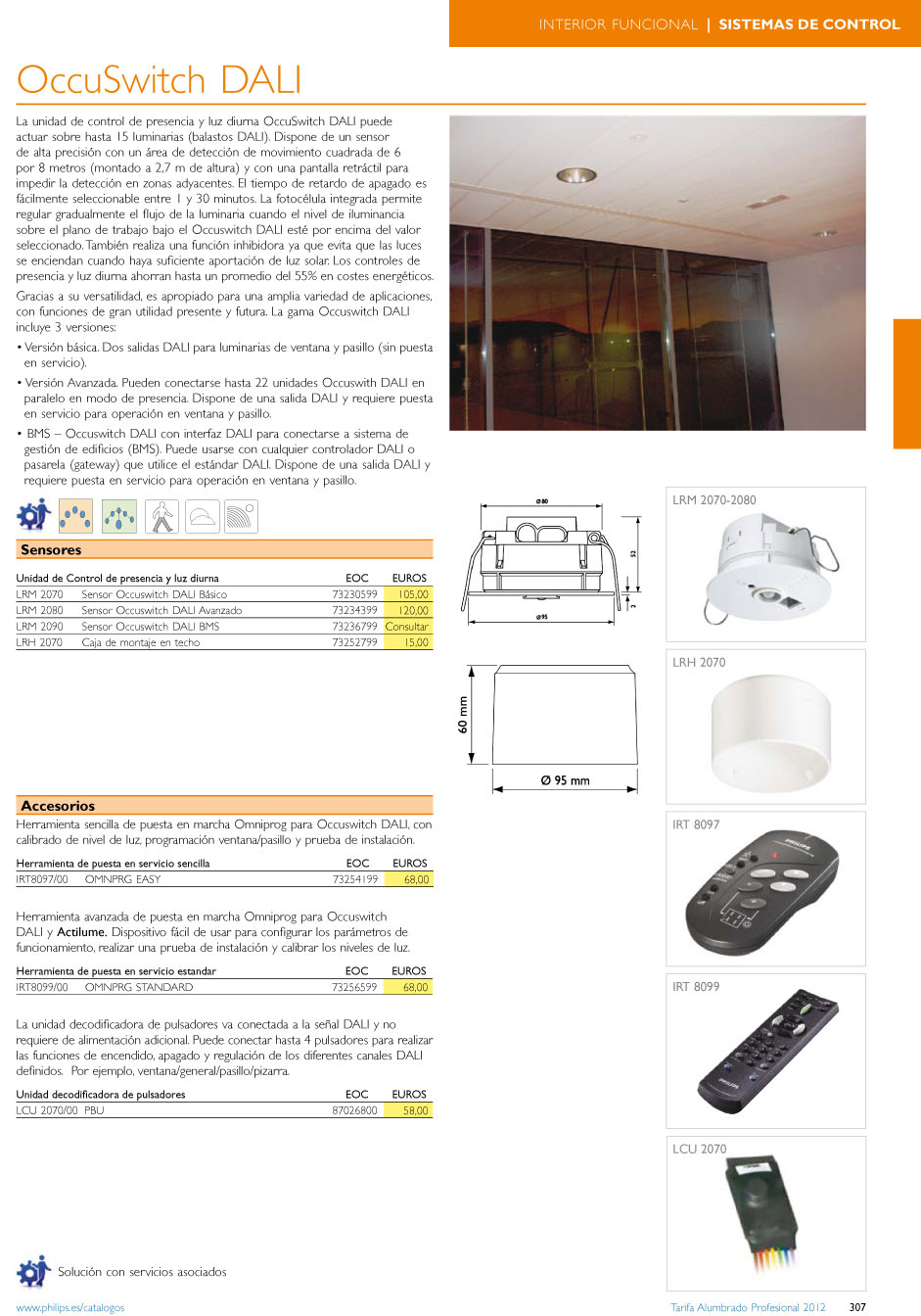 Occuswitch dali LRH 2070 box of montaje en Ceiling