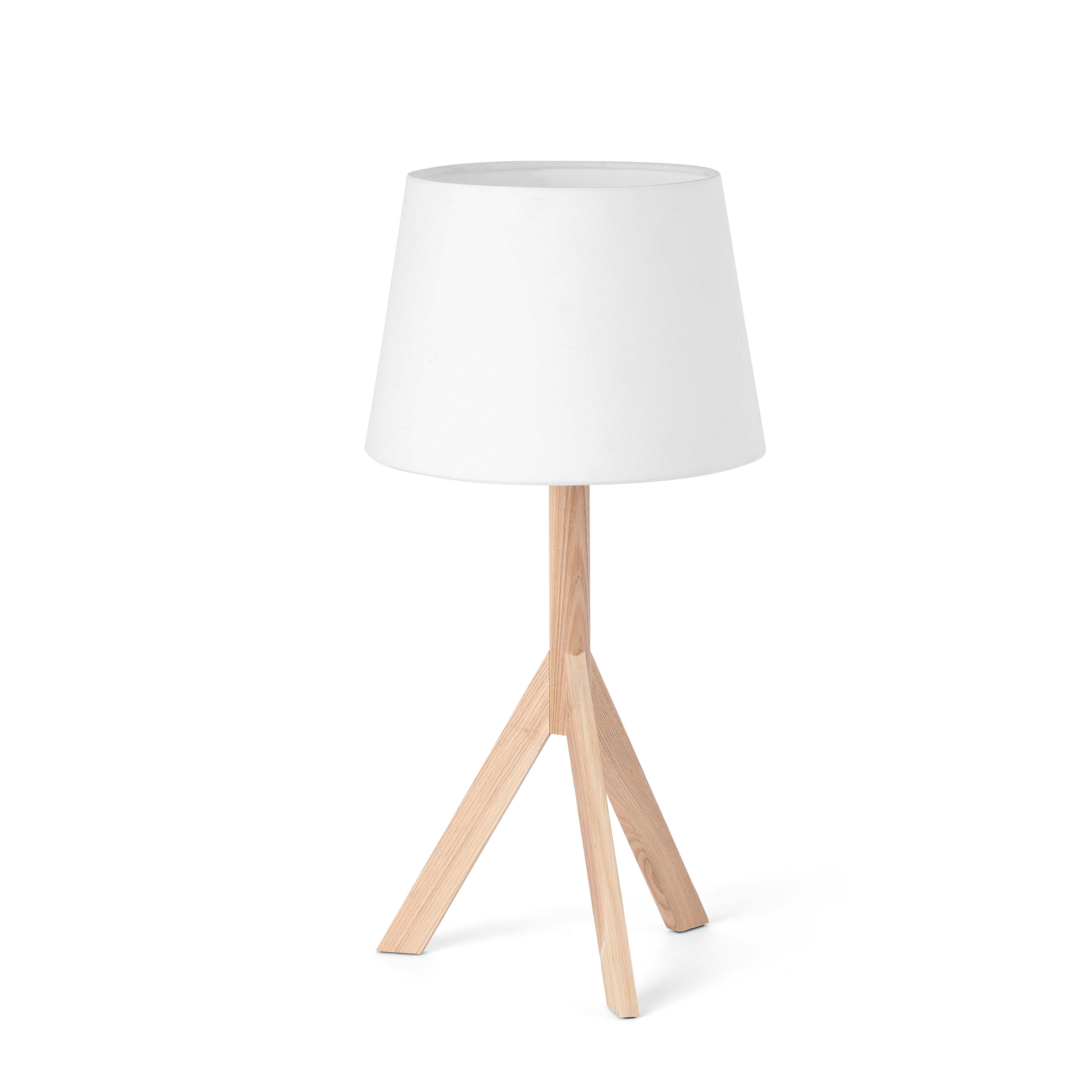 Hat Table Lamp E14 MAX 40W - Structure Wood lampshade White Fabric