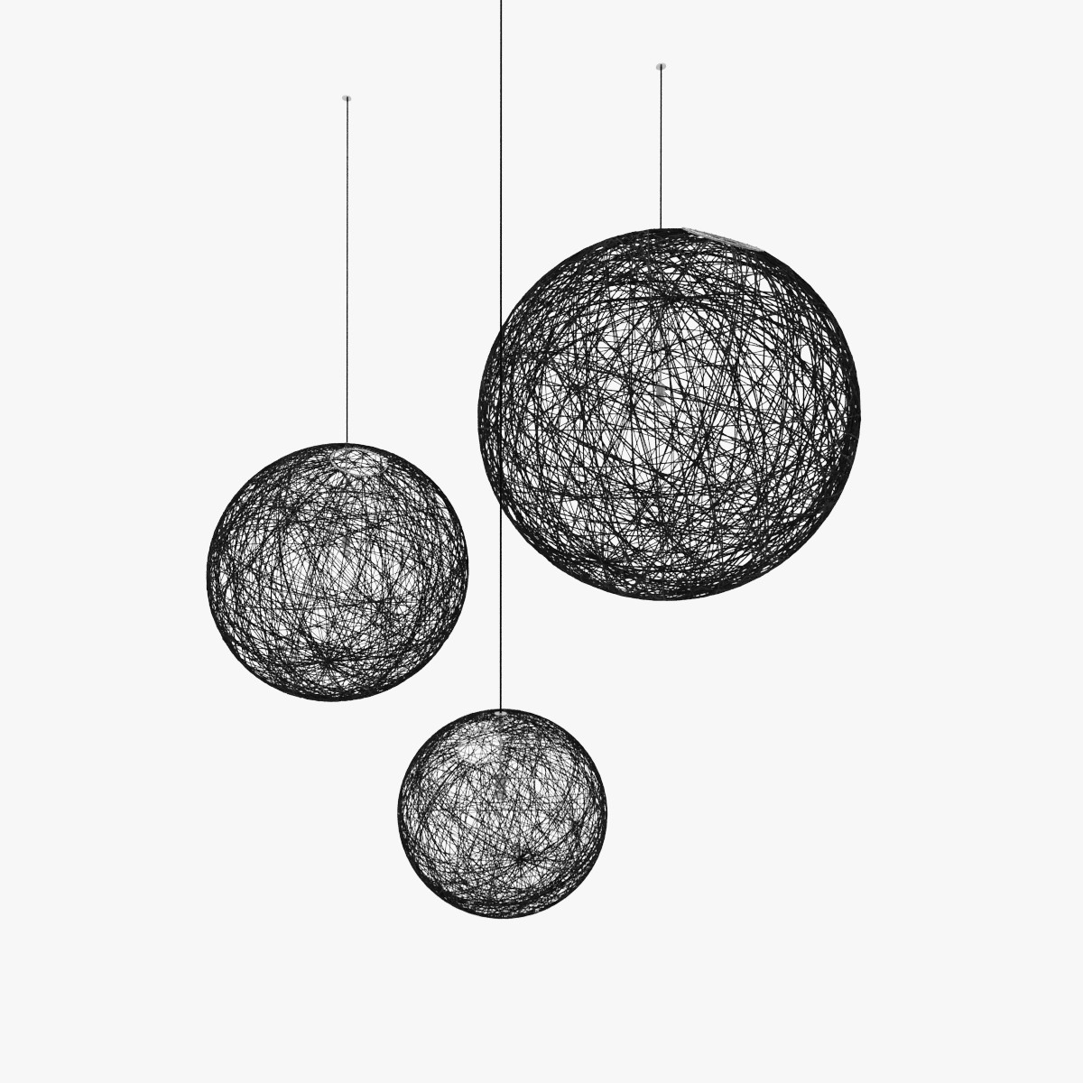 Random light Pendant Lamp Medium ø80cm 1x60w E27 Black