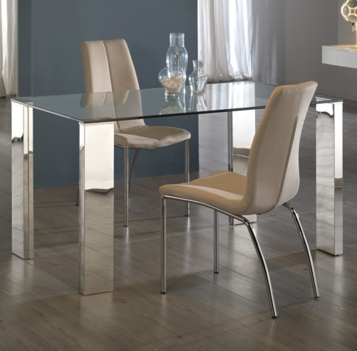 Malibu mesa de comedor 160x90cm Acero