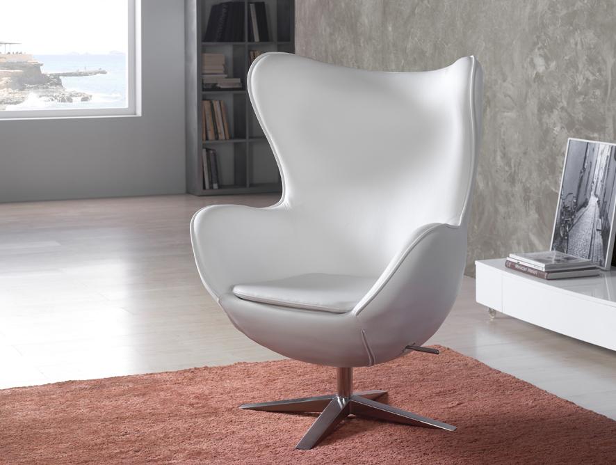 Egg sillón Blanco Ecopiel