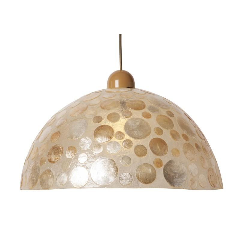 Capiz Lámpara Colgante Media Esfera 1L E27 ocre