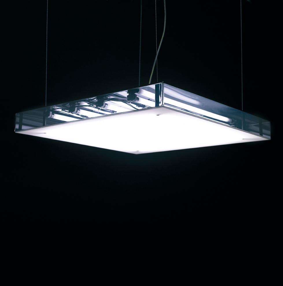 Box S70 Lámpara Colgante regulable Fluo 4x14/24W (G5) - Fumé Transparente