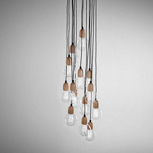 Ilde Wood Max S7 Lamp Pendant Lamp múltiple 7x2W E27 - Wood roble