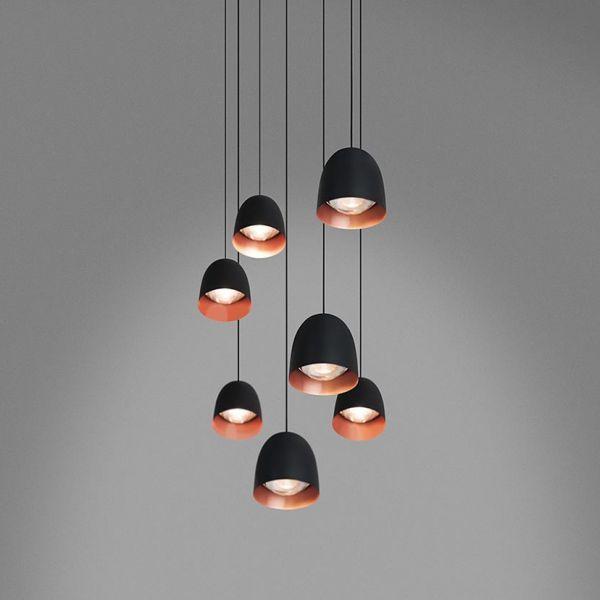 Speers S6 Lámpara Colgante LED 6x9W - negro Brillante, Cobre Satinado