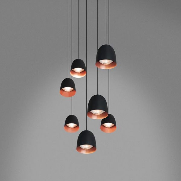 Speers SR6 Lámpara Colgante LED 6x9W - negro Brillante, Cobre Satinado