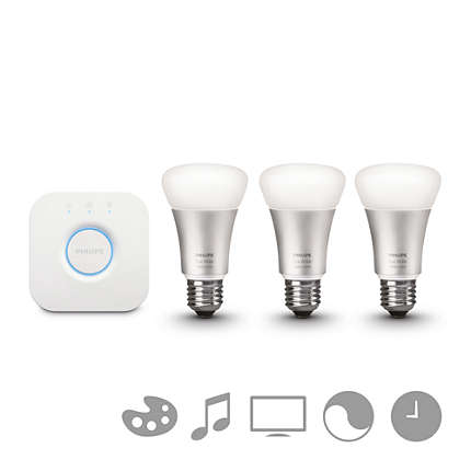 Philips Hue white And Color - Kit of Bulb Single Conectada and Puente, Casquillo E27, Controlable Vía Smartphone, 16 Millones of Colores