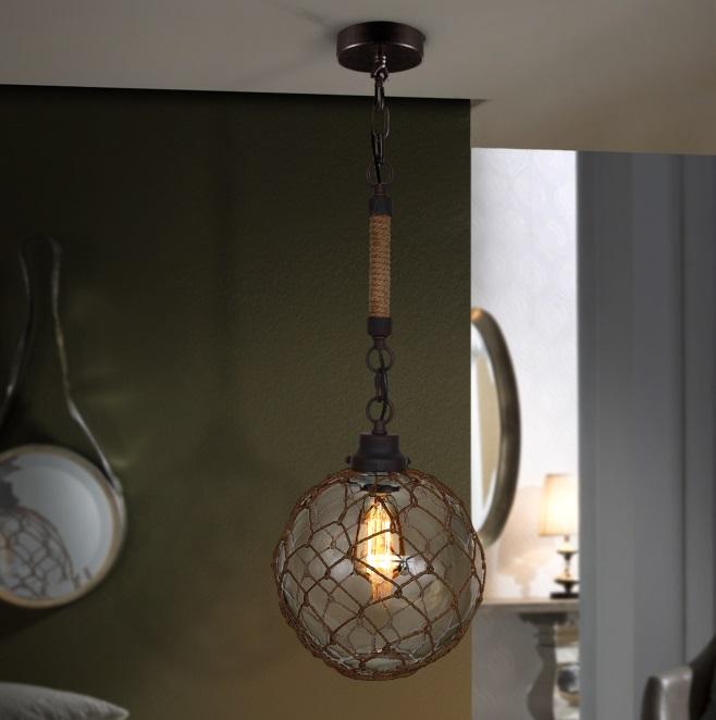 Laza Lámpara colgante tulipa cristal soplado 60W LED ø25x60cm - Negro óxido
