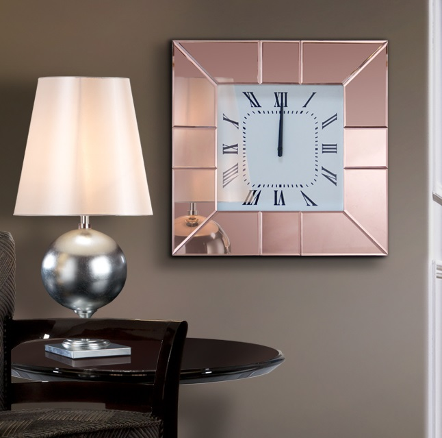 Rose Reloj de pared 50,5x50,5x5,5cm - Marco color cobre