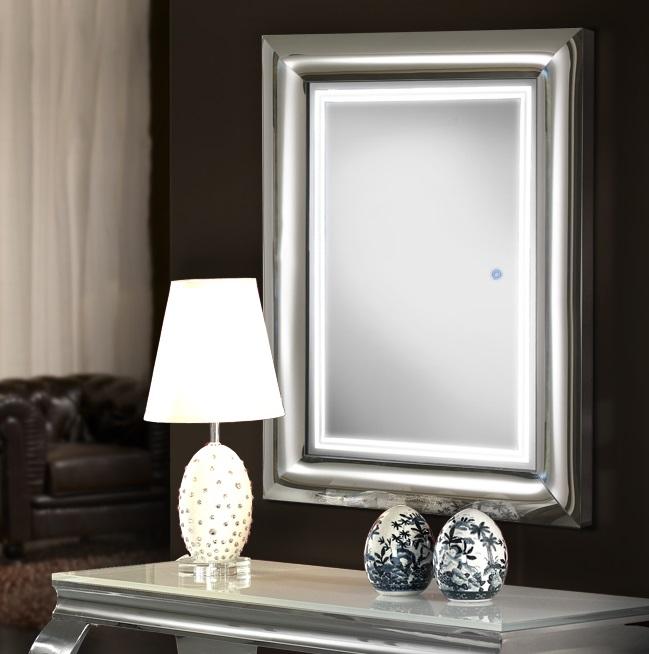 Berlin Espejo iluminado LED 24W 80x120x9cm - Acero brillo