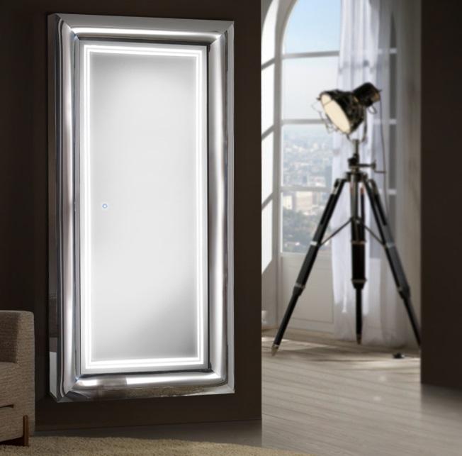 Berlin Espejo iluminado LED 43W 90x190x9cm - Acero brillo