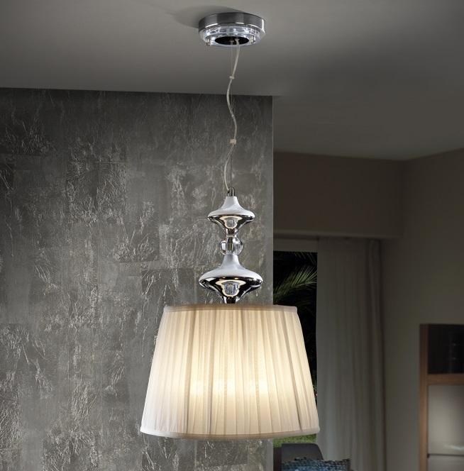 Oliver Lámpara colgante LED 60W ø35x52cm - Cromado y blanco
