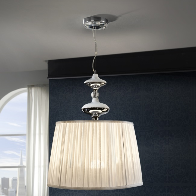 Oliver Lámpara colgante LED 3x20W ø50x60cm - Cromado y blanco