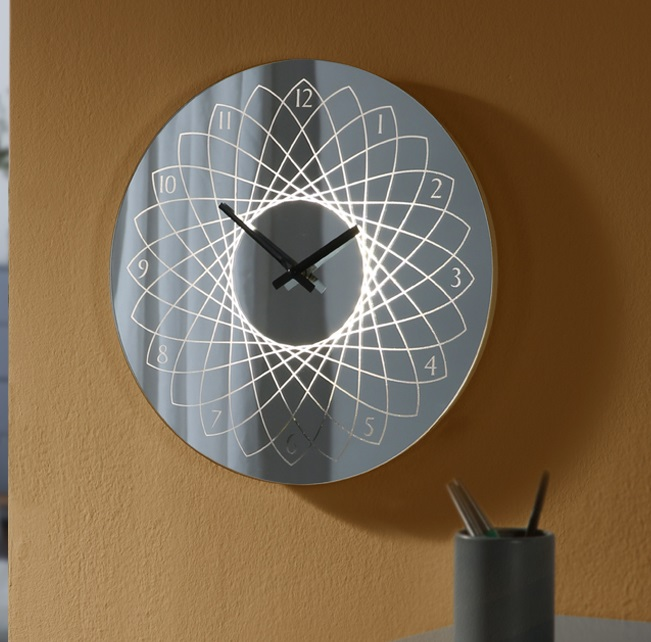 Lyon Reloj de pared iluminado LED 1,4W ø38x38cm -Metal y cristal