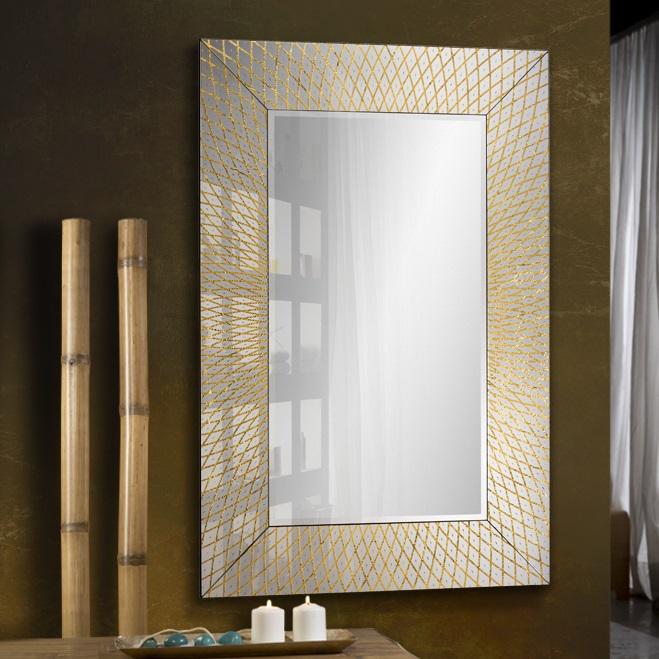 Hermes Espejo 80x120x1,6cm - Espejo plata, pan oro, negro