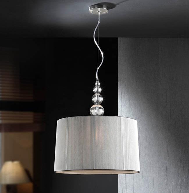Mercury Lámpara colgante ø30x45cm E27 60W - Cromo, transparente y plata