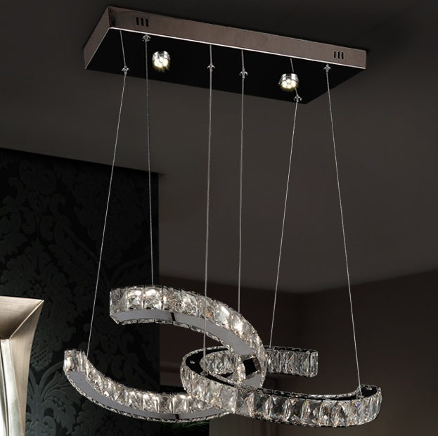 Cala Lámpara colgante LED 2x46W Cromado y transparente