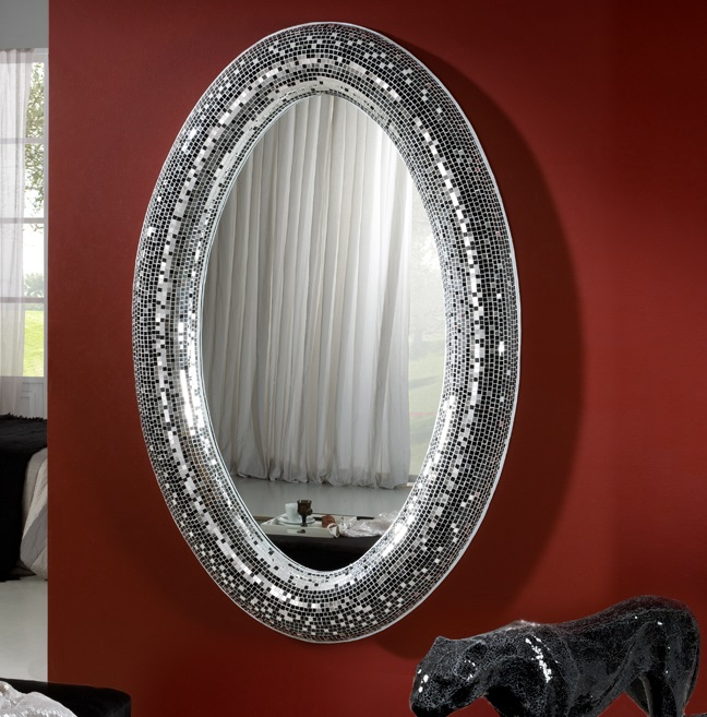 Gaudi Espejo ovalado 116x180x10cm - Espejo plata y cristal negro