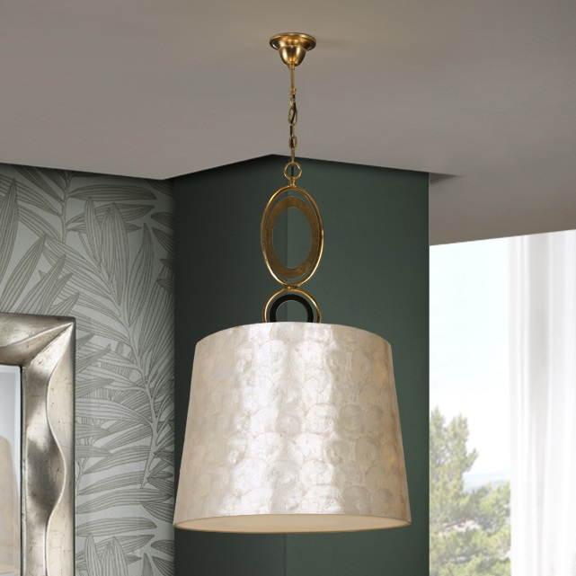Edén Lámpara colgante LED 3x20W ø45x75cm - Pan de oro y negro, nácar