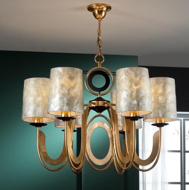 Edén Lámpara colgante LED 6x20W ø75x60cm - Pan de oro y negro, nácar