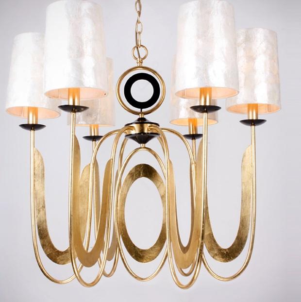 Edén Lámpara colgante LED 6x20W ø80x70cm - Pan de oro y negro, nácar
