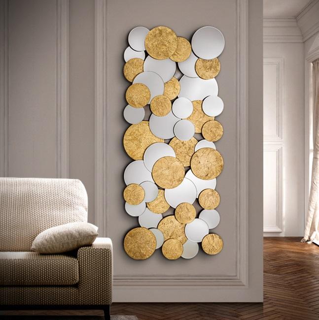 Cirze Espejo rectangular 60x140x3cm - Espejo plata, pan oro, negro