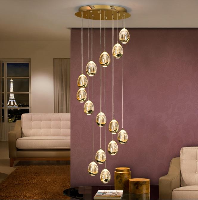 Rocío Lámpara colgante 14L 70W ø50x100cm - Dorado y transparente