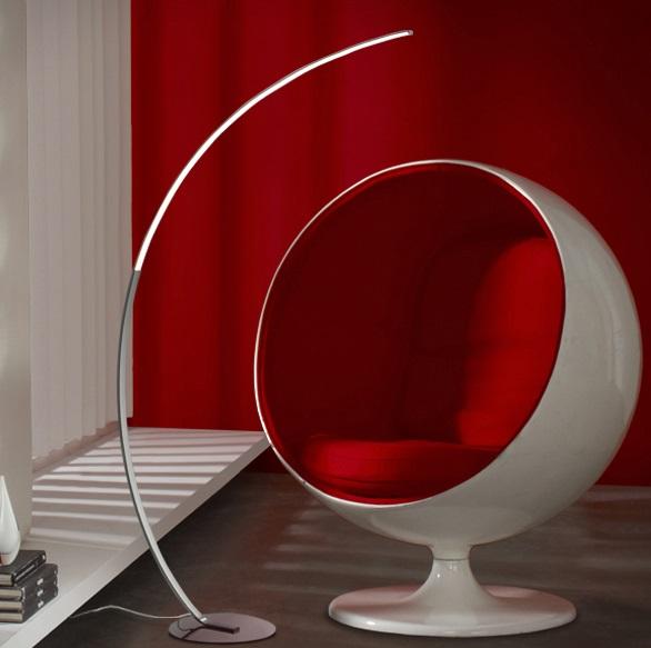 Trazo Lámpara de pie LED 20W 75x155x27cm - Cromado y opal