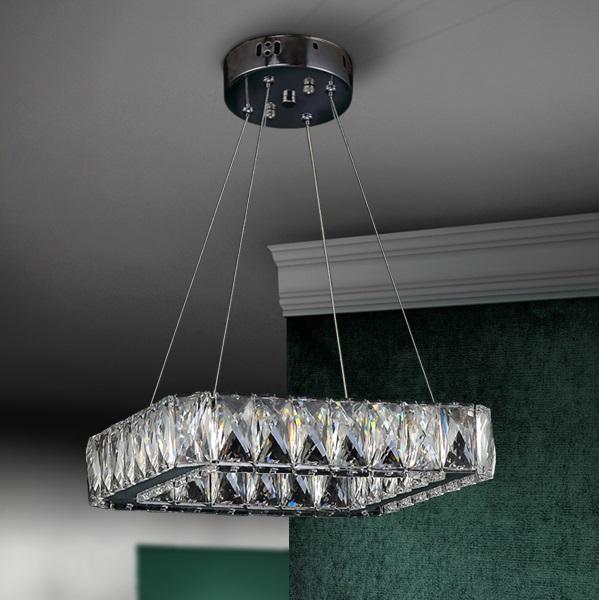Diva Lámpara colgante cuadrada LED 24W 28x6x28cm - Cromado y transparente