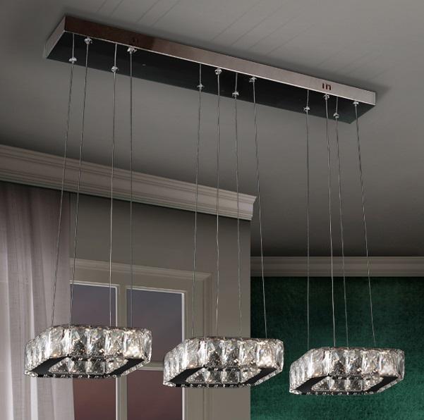 Diva Lámpara colgante triple LED 48W 78x6x19cm - Cromado y transparente