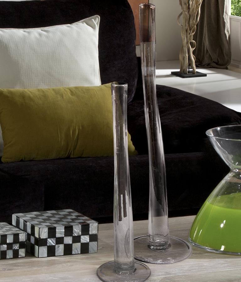 Jarrones de Cristal Set dos floreros ø19x67cm - Cristal y transparente