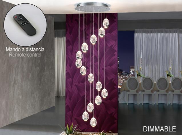 Rocío Lámpara colgante 14L 70W LED ø50x100cm - Cromo y transparente