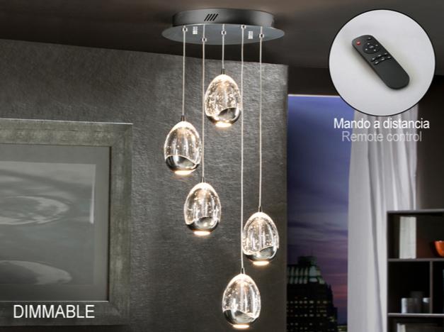 Rocío Lámpara colgante 5L 25W LED ø30x45cm - Cromo y transparente