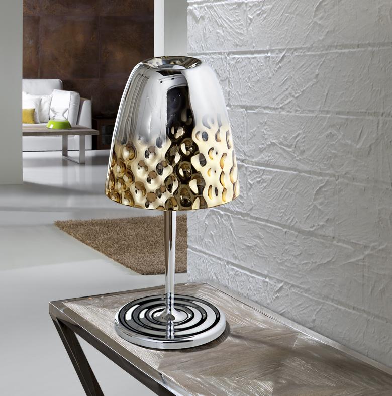 Riviera Sobremesa LED 60W ø28x57cm - Cromo y dorado