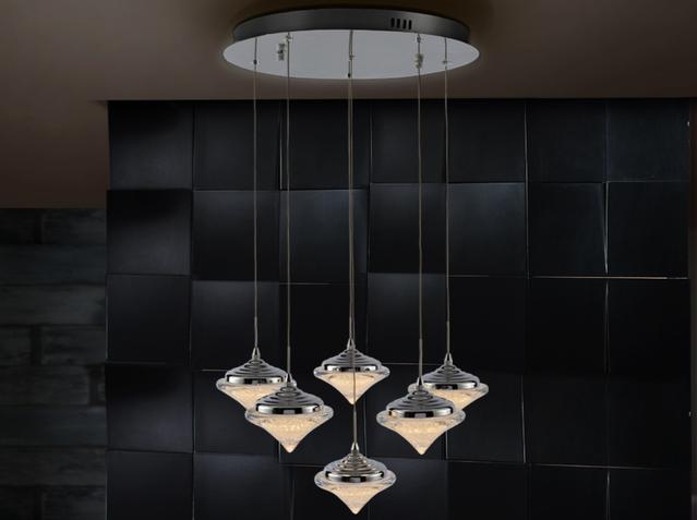 Zoe Lámpara colgante 6L LED 28,8W ø50x120cm - Cromado y transparente con textura