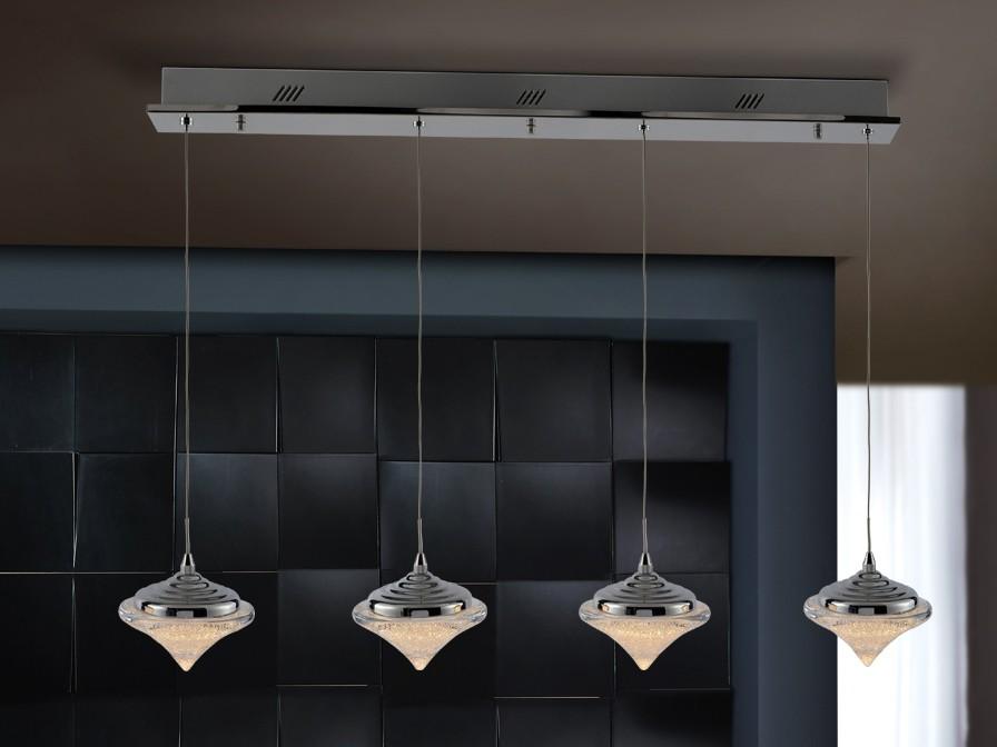 Zoe Lámpara colgante 4L LED 19,2W 91x120x14cm - Cromado y transparente con textura