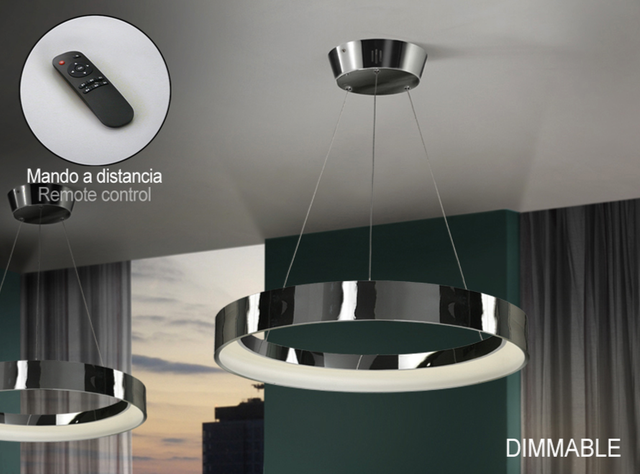 Cronos Lámpara colgante LED 38W ø60x7cm - Cromo