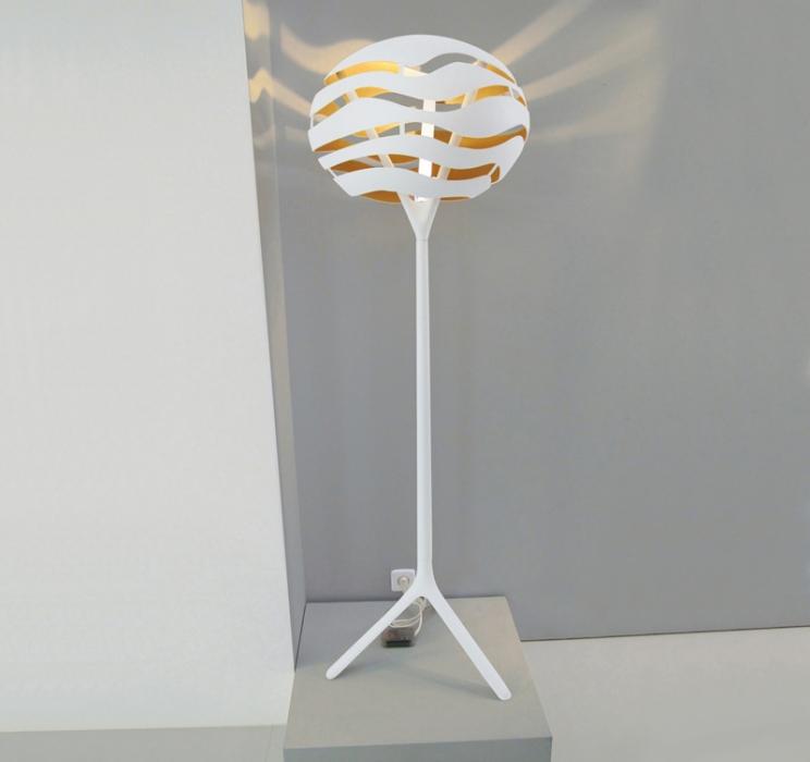 Tree Series F Lámpara de pie 100W E27 - Blanco interior dorado