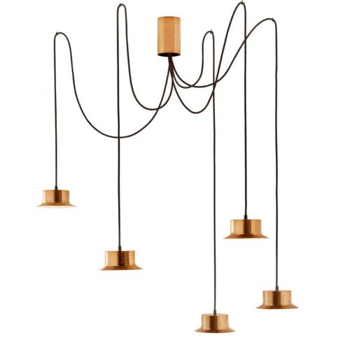 Maine Lámpara Colgante con Florón metálico Oro Satinado