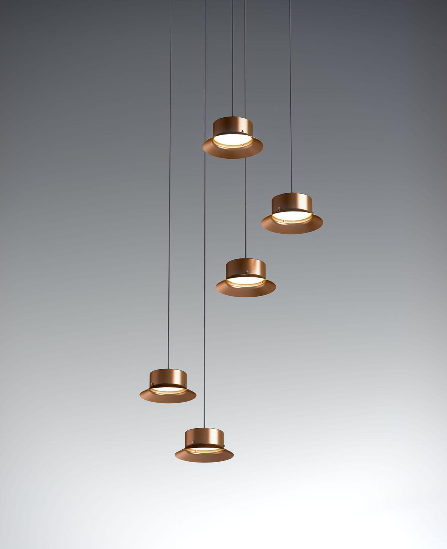 Maine Lámpara Colgante metálico 17,5W Cobre