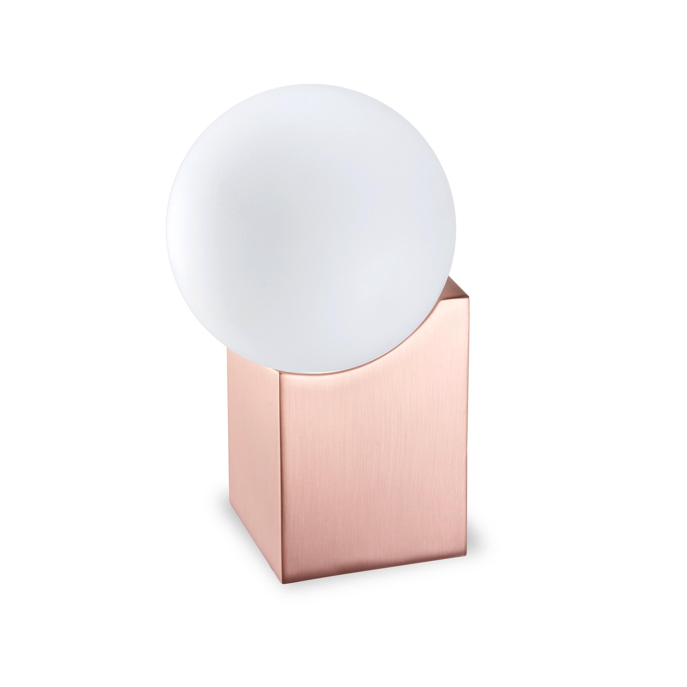 Cub Sobremesa pequeño G-9 LED Acero y cristal 17,5cm Cobre satinado