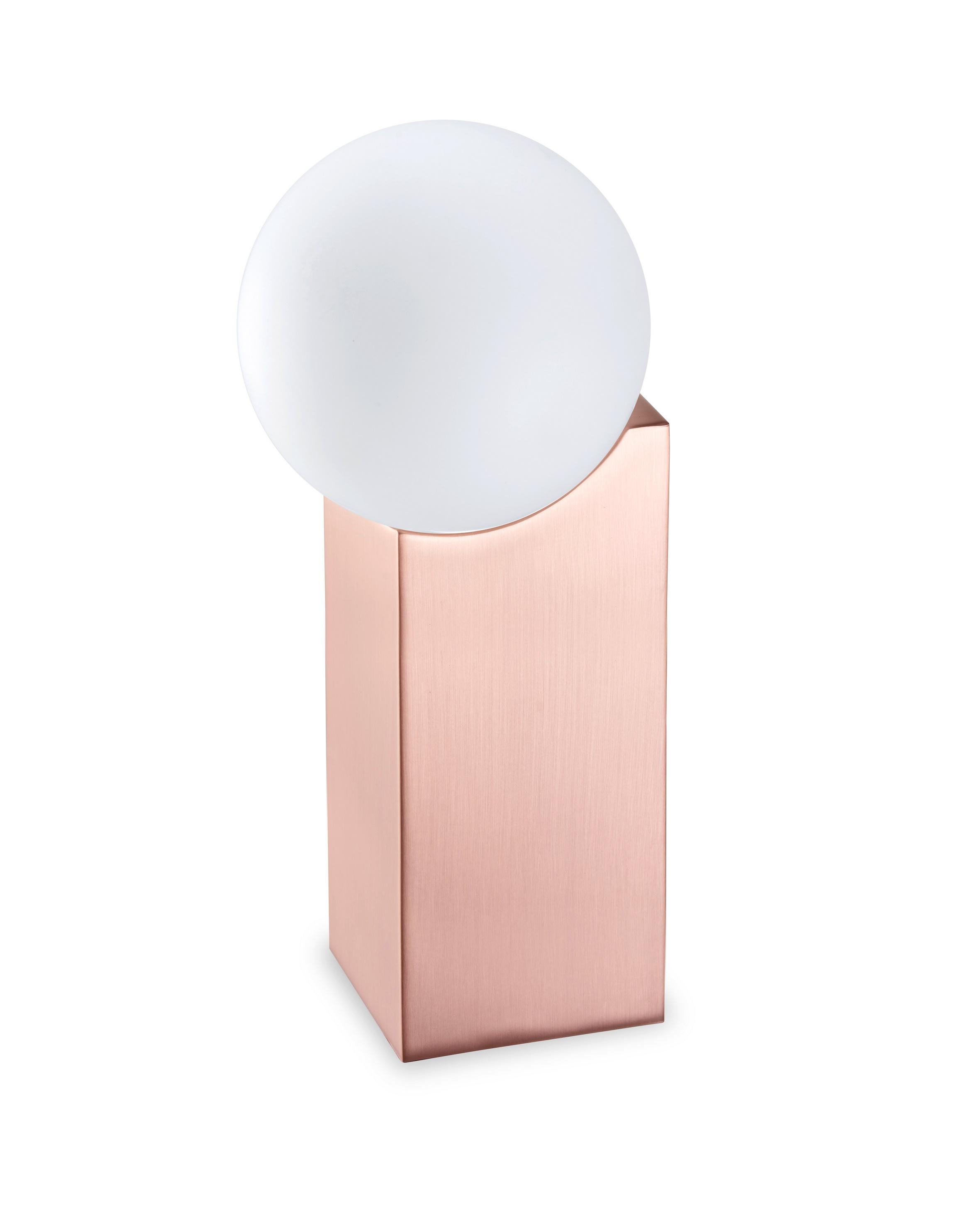 Cub Sobremesa grande G-9 LED Acero y cristal 23,5cm Cobre Satinado