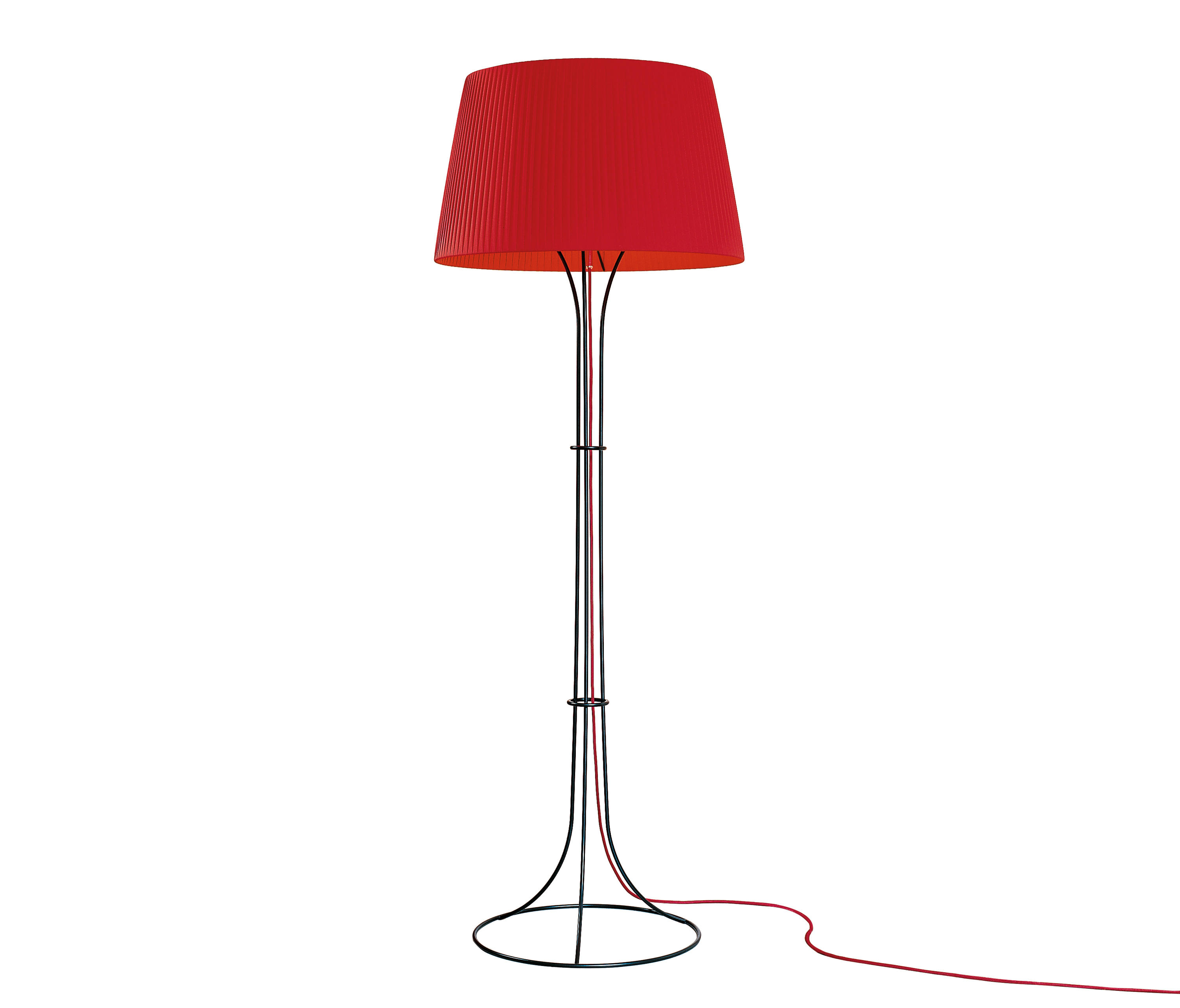 Naomi lámpara of Floor Lamp E27 205W cable Black lampshade Roja