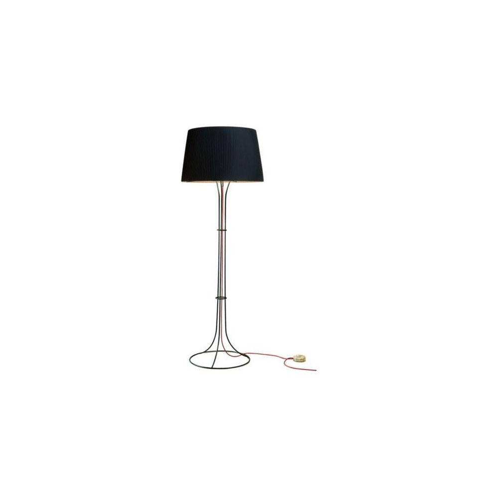 Naomi lámpara of Floor Lamp E27 205W cable Black lampshade black