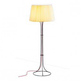 Naomi lámpara of Floor Lamp E27 205W cable Black lampshade Beige