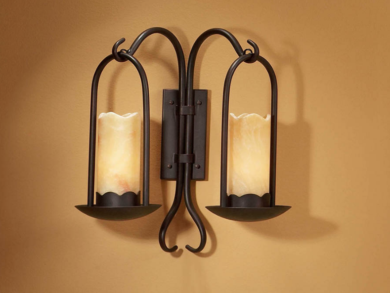 Candela Wall Lamp 2xE27 LED Brown Oxide