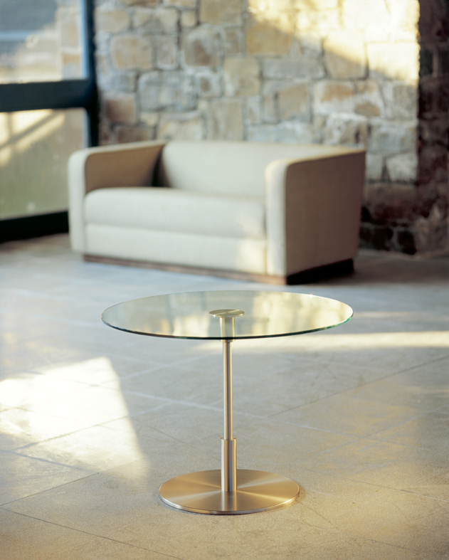 Diana Alta table ø58x62cm Nickel Satin/Glass